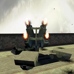 The Desert Launcher firing rockets.
