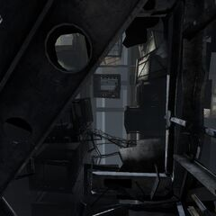 Glimpse of the Relaxation Center from Chell's damaged Relaxation Chamber, with other Chamber containers visible in the background.