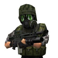 Gas mask soldier / Adrian Shephard model.