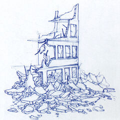 A ruined City 17 building.