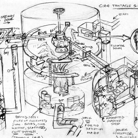 Concept art for the <i>Half-Life</i> chapter <i>Blast Pit</i>.