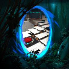 Screenshot of the <i>Portal 2</i> Super Button, seen through a portal placed in concept art of a decaying area.