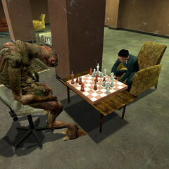 Vortigaunt playing chess with a female Citizen in a common room.