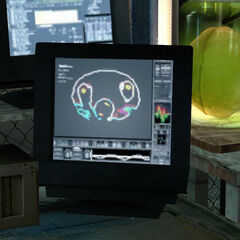 The Cremator's head on a computer screen in Eli's lab in <i>Half-Life 2</i>.