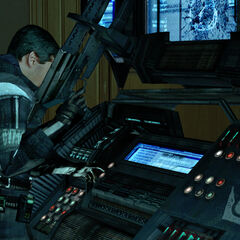Barney operating Combine computers during the battle for the Overwatch Nexus.