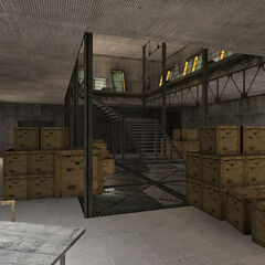 The room with crates and lockers, also present in the map