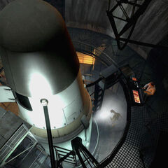 The rocket and Kleiner in the White Forest rocket silo in the <i>Episode Two</i> trailer.