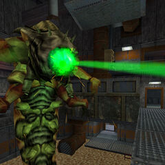 The Pit Worm firing its eye laser.