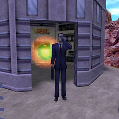 The G-Man about to teleport through a portal near the Hydro-Electric Plant.
