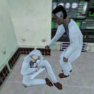 Eli Vance helping a scientist up after the Resonance Cascade.