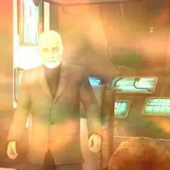 Breen in his office in the Citadel, recognizing Gordon Freeman during his teleportation mishap. On an unrelated note, the teleport mishap can be thought of as the harmonic reflux in Half Life: Blue Shift and Half Life: Decay.