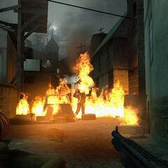 Burning Zombies in Ravenholm.