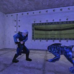Blue Panther Eye about to attack a member of the Military Police.