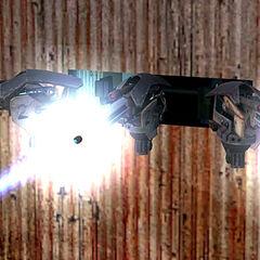 The Autogun firing, closeup.