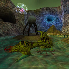 Two Bullsquids drinking from a Healing Pond on Xen, as seen during the Resonance Cascade in <i>Half-Life</i>, with a Protozoan orbiting behind.