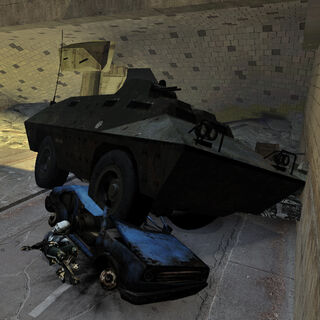 The V-100 APC as seen in the <i>Half-Life 2</i> chapter <i>Anticitizen One</i>.