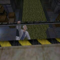 Early scientist about to fall from the footbridge, cut from the final game.