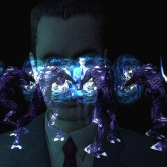 G-Man being hold off by Purple Vortigaunts.