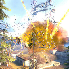Strider destroying White Forest's antenna if Gordon fails to defeat all the Striders.