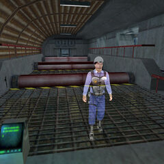 Miller as the Holographic Assistant for Security Guard Training in the Training Facility.