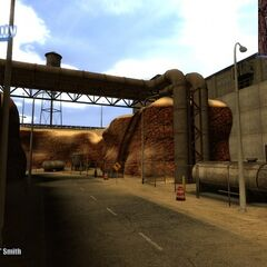 Captive Freight chapter showing outside of the view after crawling out from the Canal Screenshot.