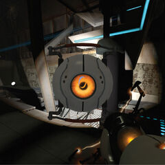 Hover Turret carried by Chell in an early <i>Portal 2</i> screenshot.