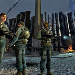 Idle Rebels with MP7s on the Trainstation Plaza during the City 17 Uprising.