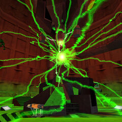 Vortigaunt being teleported in Test Lab C-33/a during the Resonance Cascade.