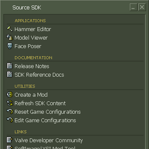 The Source SDK main menu, with the list of accessible programs.
