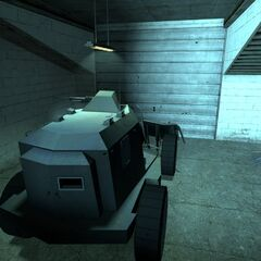 An APC ready to be driven out of the garage.