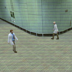 Freeman as seen by Barney Calhoun in a security camera in <i>Blue Shift.</i>