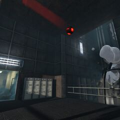 Aperture Science Bomb destroying a pipe.