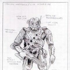 Concept art for the CIA Assassin.