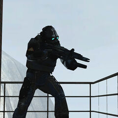 Overwatch Soldier aiming at Freeman with his OSIPR at Bridge Point.