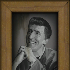 1950s portrait of Cave Johnson, reminiscent of a <a rel=