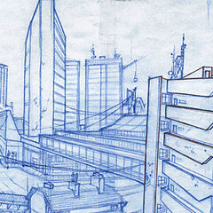 An early rough sketch of City 17 as a more decayed and dirty place.