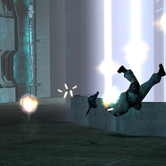 Combine Soldier being killed by an Energy Ball taken from generators and thrown at them with the Gravity Gun.