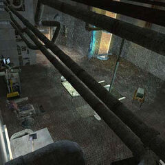 Early Relaxation Vault in one of the earliest known screenshots, with placeholder <i>Half-Life 2</i> props.