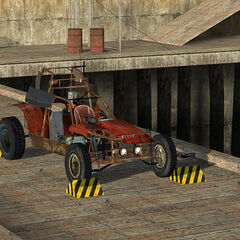 The Beta Scout Car on Shorepoint Base's Pier 87 in the playable <i>Half-Life 2</i> Beta.