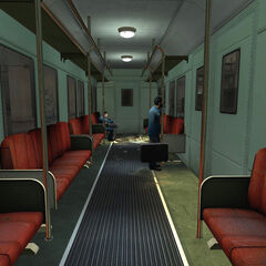 Citizens on a train on its way to the trainstation. This is the first real world thing Gordon sees when he wakes up.