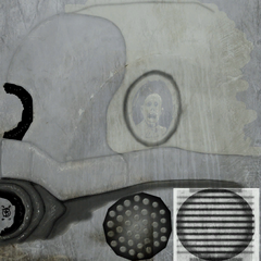 Texture file for the head, showing hidden elements, such as the head of a frightened man and Ted Backman's stylized signature on the bottom-left.
