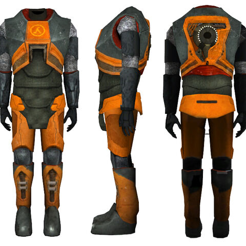 The Mark V HEV Suit's world model from the playable <i>Half-Life 2</i> Beta version, with a partially detailed back. Note the backwards <a href=