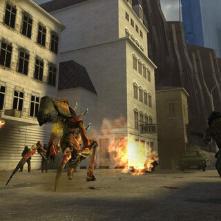 Early screenshot of Antlion Guard engaging soldiers and Alyx.