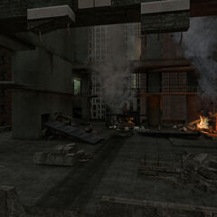 The crash site on the destroyed top of the building, with remade <a rel=