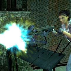 Alyx firing the Emplacement Gun.