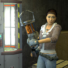 Alyx introducing the Gravity Gun to Gordon.