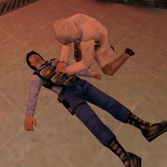 Scientist attempting to revive a security guard right after the Resonance Cascade. After some time, he succeeds.