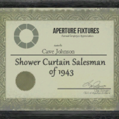 <i>Shower Curtain Salesman of 1943</i> award given to Cave Johnson.