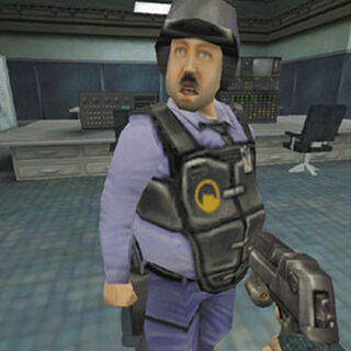 The Desert Eagle in an early <i>Opposing Force</i> screenshot.