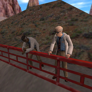 Two scientists having a conversation, while overlooking the tram.